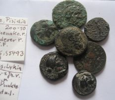 Greek Antiquity - Lycia, Lydia, Phrygia and Pisidia great lot of 7  Bronze coins with rarities