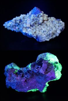 Two Fluorescent specimens - Barite and Hyalite with aquamarine, tourmaline and albite - total 296 g