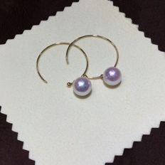 Japan Akoya pearl earrings -Pearl Size: approx 8.5 X 8.5 mm,, weight 4 g
