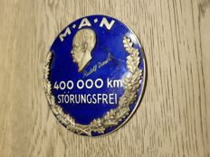 Truck badge M.A.N 400,000 km breakdown-free operation enamel MAN