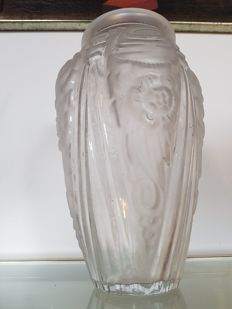 Large pressed glass vase in art nouveau style