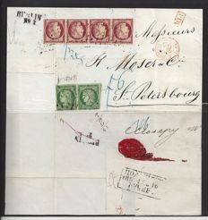 France 1849-1852 - emission Ceres 4F30c rate on mail to Russia - letter to St. Petersburg with Yvert no.: 2b pair and 6, strip of 4