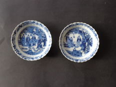 Two large saucers, Chinese playing a board game of Mahjong - China - 19th century