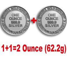 2 x 1 Ounce ( 62.2g)  999 Fine  2 Silver  Bullion Coins , *** NO RESERVE PRICE  ***