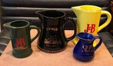 Collection of 4  Whisky Jugs, Barware Water Pitcher, Glenfiddich ,JB, and QP Land