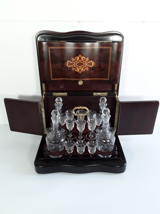Elegant liquor box Napoleon III, ebonized wood - 20th century, France