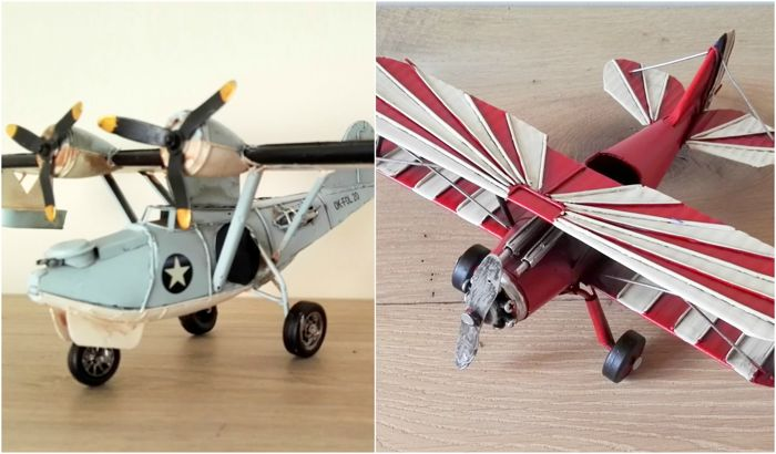 Two tin / sheet metal scale models of old aircraft