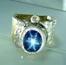Men's ring – heavy goldsmith ring with a 9.06 star sapphire + 0.10 ct diamond – size 72 / 23 mm, no reserve price