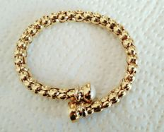 Semi-rigid vintage 18 kt gold women's bracelet with two Mabe' pearls- weight: 36.80 g
