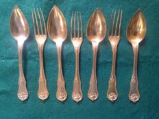 Set of 7 table utensils by Christofle -