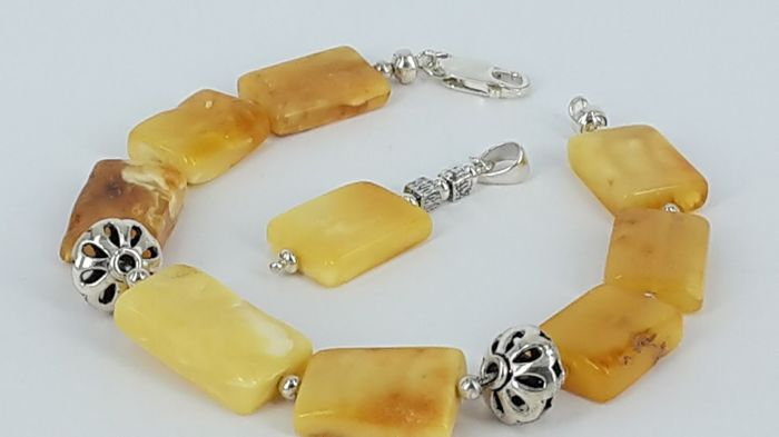 Set - Pendant & Bracelet 22 cm lenght - natural Baltic amber - 925 sterling silver UV test - No pressed