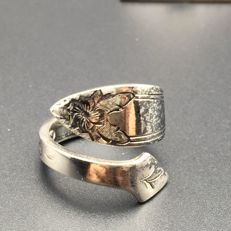 1950s American 925 sterling silver open tail ring -size 6.35 US - Free resizing