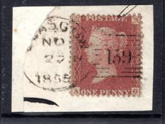 Great Britain Queen Victoria 1855 - 1d red-brown, Rare experimental postmark