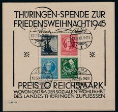 Soviet Zone Thuringia - 1945 - 'large Christmas block' - Michel block 2 x (III) with Dr. Jasch photo attest