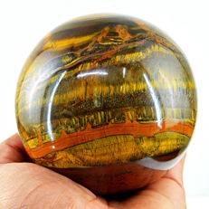 "Fine golden Marra Mamba Tiger Eye ""healing Sphere"" - 90 mm - 865 gm"