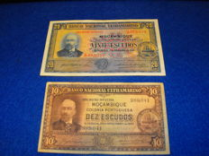 Mozambique - 20 escudos 1941 and 10 escudos 1945 - Pick 85 and 95