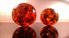 Set of beautiful Composite Baltic Amber Spheres  - 775gm ( 2 )