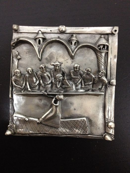 """Last supper"" silver bas-relief, signed Fidia Gallery Verona (Italy)"