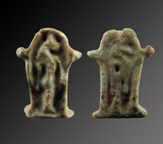 Egyptian faience double sided sanctuary of Sekhmet amulet - 14 mm