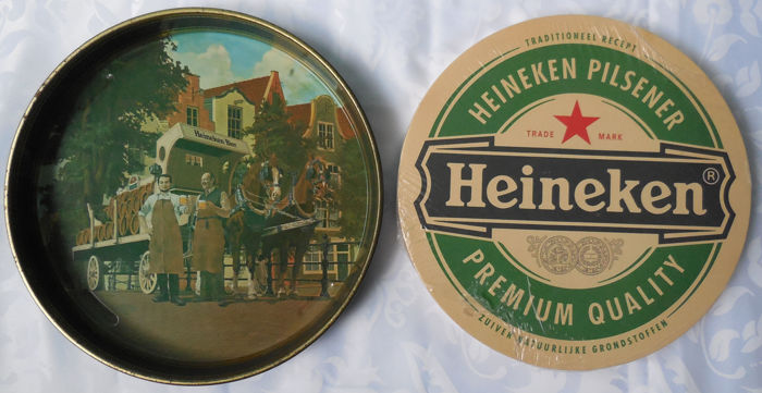Old and Rare Tray Heineken + 15 Mega coasters 32 cm unused - Original Heineken
