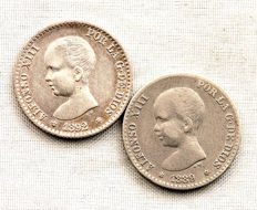 Spain - Alfonso XIII - Lot of 50 silver cents 'Pelon' - 1889 and 1892 - Madrid