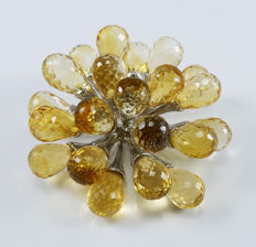 925 Sterling silver pendant with briolette cut extra lustrous natural Citrines