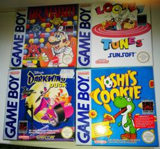 4 Gameboy games boxed. Dr Mario + Looney Tunes + Yoshi's Cookie + Darwing Duck