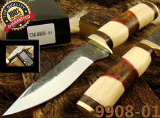 Handmade 23 CM Carbon Steel Hunting Knife with Leather Sheath