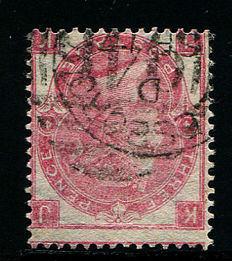 Great Britain 1865/67 Queen Victoria - 4 pence rose Watermark Emblems plate 4, Stanley Gibbons 92Wi Watermark inverted