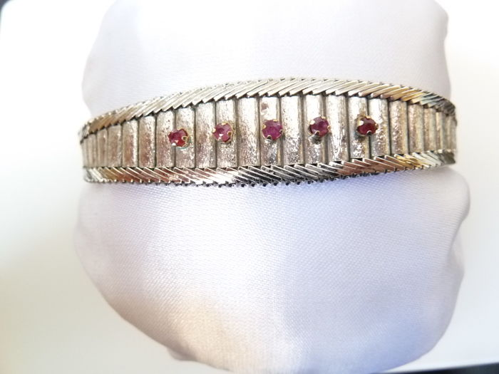 Bracelet made in Vicenza, silver and rubies