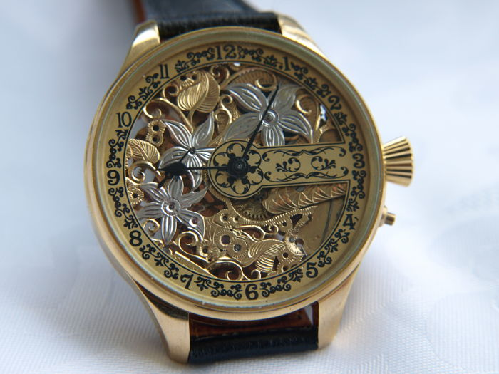 11 Croissant - skeleton wristwatch - Heren - 1901-1949