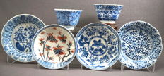 Collection of porcelain cups and saucers, all marked - China - Kangxi period (1662-1722)