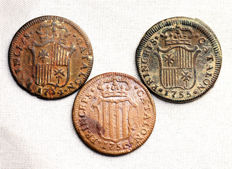 Spain - Fernando VI - Lot of 3 Ardit copper coins - 1754, 1755, and 1756 - Barcelona - Complete series