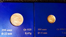 France - 100 Euro 2009 and 250 Euro 2009 (lot of 2 coins) - gold