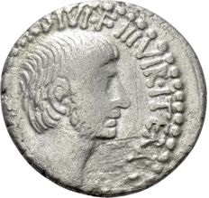 Roman Republic - C. Caesar Octavianus. Denarius, mint moving with Octavian 36 BC (17 mm, 3.54 gr). Tetrastyle temple of Divus Julius