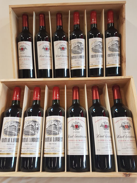 2007 Chateau Lambert  Fronsac x 6 bottles & 2001 Chateau Haut Canterane  Côtes de Bourg x 6 bottles / 12 bottles in 2 Wooden Box of 6 bottles