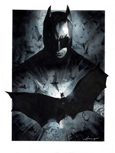Batman by Daniel Azconegui - Original Watercolor Painting