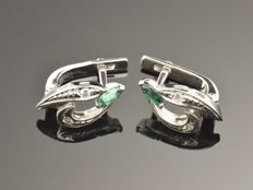 Gold 14 kt  Earrings Diamonds, 0.04 ct Laboratory made Emeralds 0.36 ct