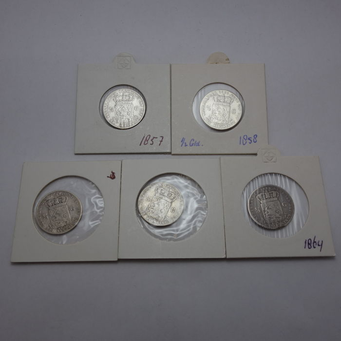 The Netherlands - ½ guilder, 1857/1864, Willem III - 5 different coins - silver