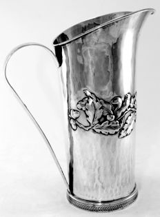 Vintage Italian sterling silver water pitcher, By Brandimarte Firenze, C.1970