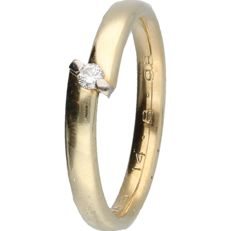 14 kt - Yellow gold ring set with a diamond of 0.04 ct in a white gold setting - ring size: 17 mm - NO RESERVE