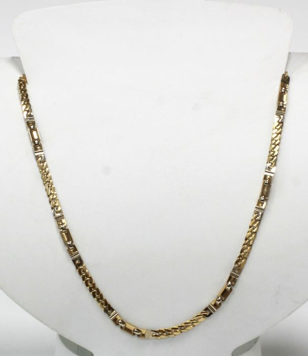 18 kt Necklace solid bi-colour of yellow and white gold - Length: 45 cm