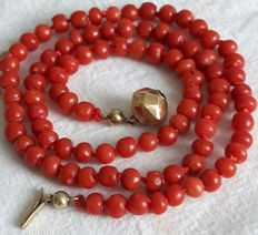 Necklace made of natural precious coral with an antique 14 karat gold paston clasp