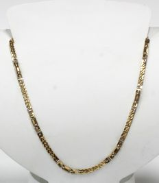 18 kt Necklace solid bi-colour of yellow and white gold - Length: 45 cm - New, never worn