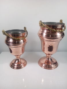 2 Large brass champagne / wine coolers - Mecap; Made in Belgium