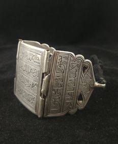 "Antique bracelet – silver amulet ""bazuband"" with writing – Persia, early 20th century."