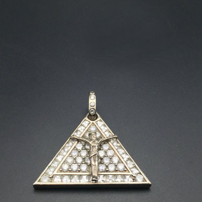 1970s American religious Jesus natural stone 925 sterling silver pendants