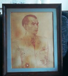Large WWII Drawing of the Luftwaffe Knight's Cross Recipient Captain Alfred Jaedtke? German Cross Front Flying Clasp of the Luftwaffe for Fighter Pilots