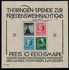 Soviet Zone - Thuringia - 1945 - 'large Christmas block' - Michel block 2 x (I) with Schulz BPP photo attest