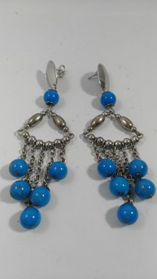Antique earrings in .925 silver with turquoise - No reserve price
